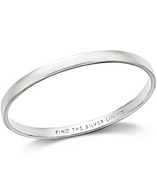 "Silver-Tone ""Find The Silver Lining"" Message Bangle Bracelet"