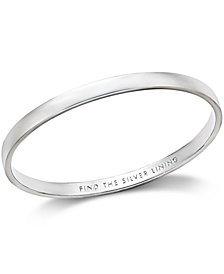 "kate spade new york Silver-Tone ""Find The Silver Lining"" Message Bangle Bracelet"