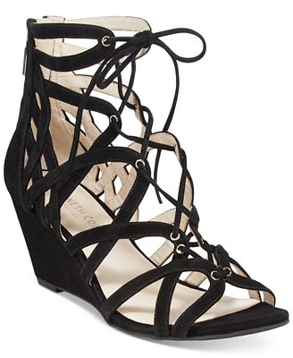 Kenneth Cole New York Women's Dylan Lace-Up Wedge Sandals Women's Shoes