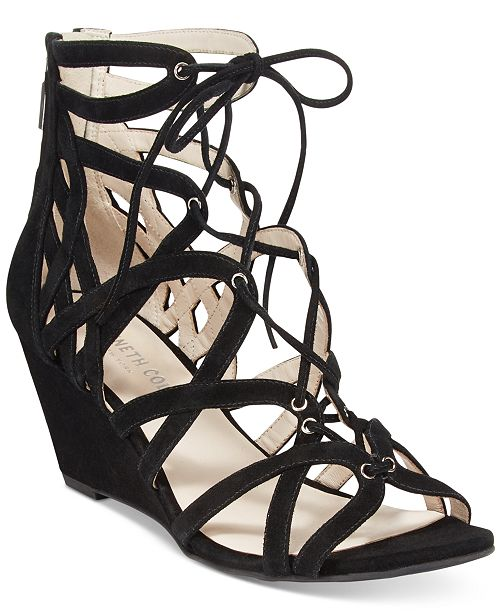 Kenneth Cole New York Women's Dylan Lace-Up Wedge Sandals Women's Shoes BK7FpUI4OB