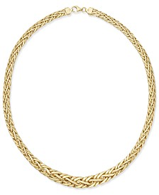 Italian Gold Polished Weave-Style Collar Necklace in 14k Gold