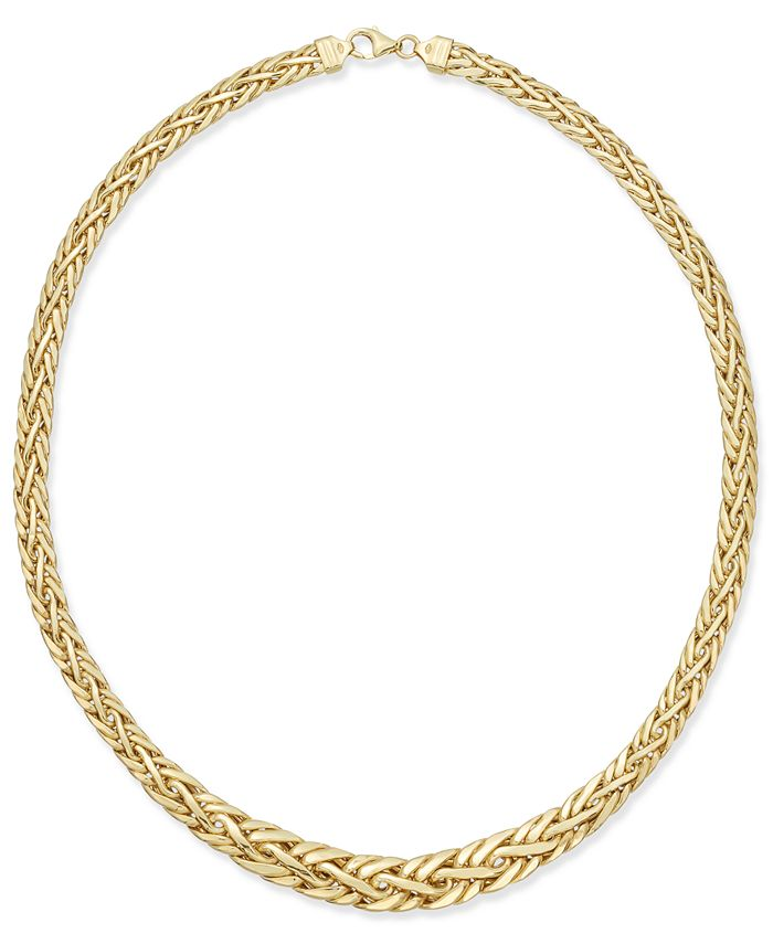 Italian Gold - Polished Weave-Style Collar Necklace in 14k Gold