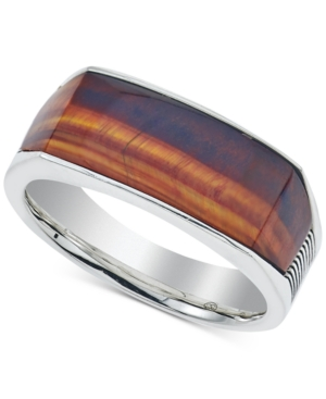 Esquire Men's Jewelry Red Tiger's Eye (4 x 8 x 3mm) Ring in Sterling Silver, Created for Macy's