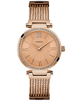309353471e23 GUESS Women s Rose Gold-Tone Stainless Steel Cable Bracelet 36mm U0638L4