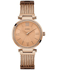GUESS Women's Rose Gold-Tone Stainless Steel Cable Bracelet 36mm U0638L4