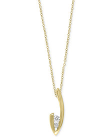EFFY® Diamond Two-Stone Pendant Necklace (1/4 ct. t.w.) in 14k Gold