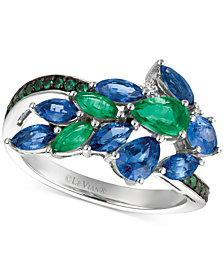 Le Vian® Precious Collection Sapphire (1-1/2 ct. t.w.), Emerald (2/3 ct. t.w.) and Diamond Accent Statement Ring in 14k White Gold, Created for Macy's