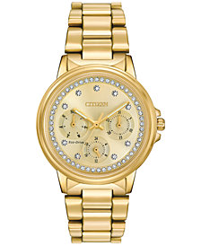 Citizen Women's Eco-Drive Nighthawk Gold-Tone Stainless Steel Bracelet Watch 36mm FD2042-51P