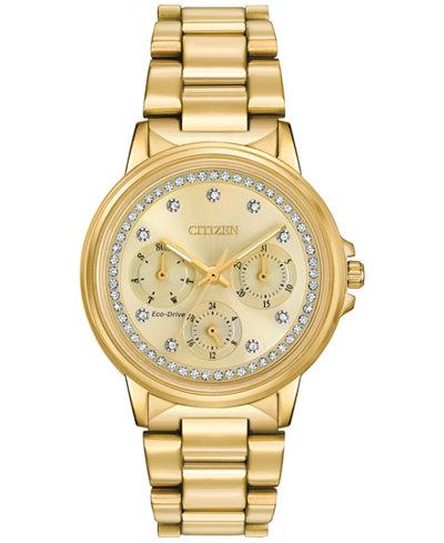 Citizen Women's Eco-Drive Nighthawk Gold-Tone Stainless Steel Bracelet Watch 36mm FD2042-51P