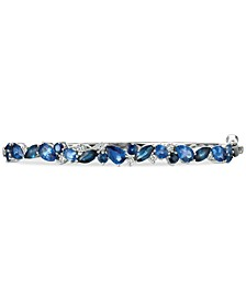 Precious Collection Sapphire (4-1/3 ct. t.w.) and Diamond (1/4 ct. t.w.) Bangle Bracelet in 14k White Gold, Created for Macy's
