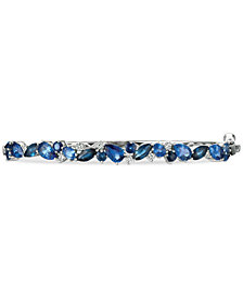 Le Vian® Precious Collection Sapphire (4-1/3 ct. t.w.) and Diamond (1/4 ct. t.w.) Bangle Bracelet in 14k White Gold, Created for Macy's
