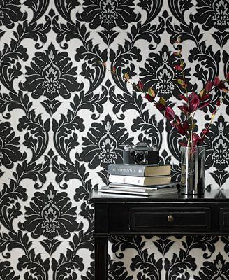 Damask Wall Paper graham & brown majestic damask wallpaper - wall art - macy's