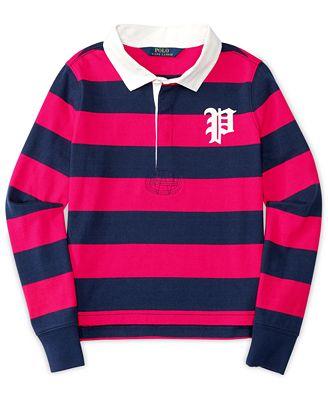 Ralph lauren girls 39 striped long sleeve rugby shirt for Long sleeve striped rugby shirt