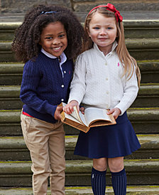 Ralph Lauren Sweater, Polo, Chino Pants, Solid Oxford Top, Cable Cardigan & Chino Skirt. Little Girls and Big Girls
