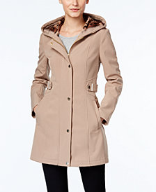Via Spiga Petite Hooded Softshell Raincoat