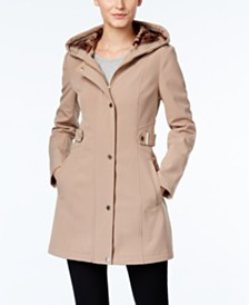 Via Spiga Petite Hooded Softshell Raincoat, Created for Macy's