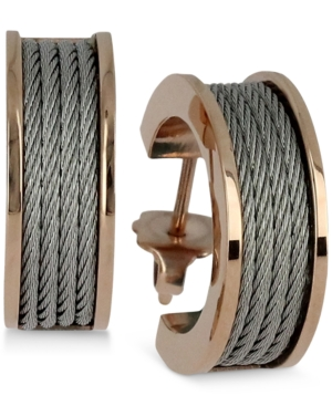 Women's Forever Silver-Tone and Rose Gold-Tone Pvd Stainless Steel Cable Hoop Earrings