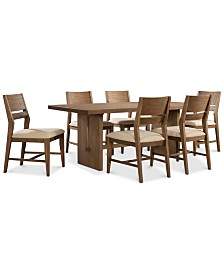 Athena 7-Pc. Dining Set (Dining Trestle Table & 6 Side Chairs)