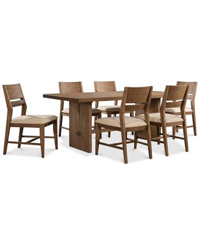 Athena 7-Pc. Dining Set (Dining Trestle Table & 6 Side Chairs ...