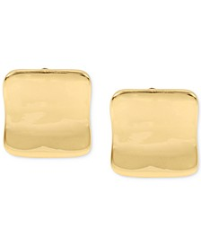 Gold-Tone Sculptural Square Clip-on Stud Earrings