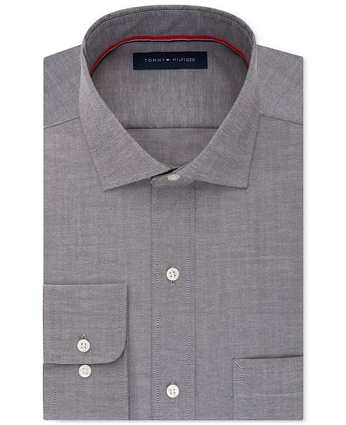 Tommy Hilfiger Men's Classic-Fit Non-Iron Gray Solid Dress Shirt