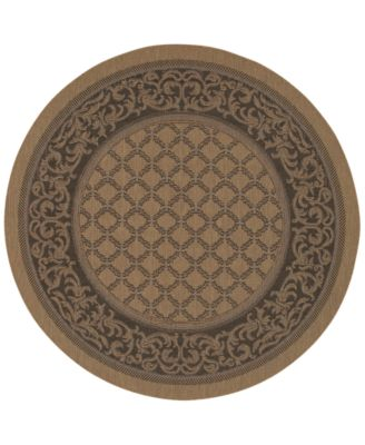 CLOSEOUT! Round Rug, Indoor/Outdoor Recife 1016/2000 Garden Lattice Cocoa-Black 8'6""