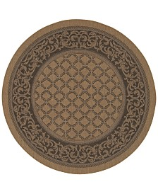 CLOSEOUT! Couristan Round Rug, Indoor/Outdoor Recife 1016/2000 Garden Lattice Cocoa-Black 8'6""