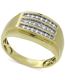 Men's Diamond Channel-Set Three-Row Ring (1/4 ct. t.w.) in 10k Gold