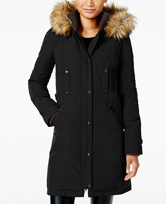 vince camuto faux fur trim hooded parka coats women macy 39 s. Black Bedroom Furniture Sets. Home Design Ideas