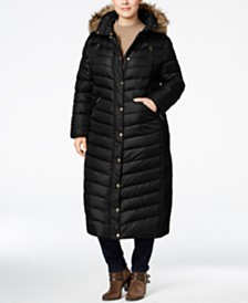 Michael Michael Kors Plus Size Faux-Fur-Trim Maxi Puffer Coat
