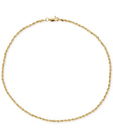 Fine Rope Ankle Bracelet in 14k Gold