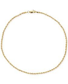 Fine Rope Ankle Bracelet in 14k Gold