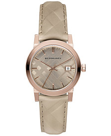 Burberry Women's Swiss The Classic Round Trench Check-Embossed Leather Strap Watch 34mm BU9154
