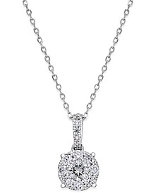 Diamond Cluster Circle Pendant Necklace (1/2 ct. t.w.) in 14k White Gold
