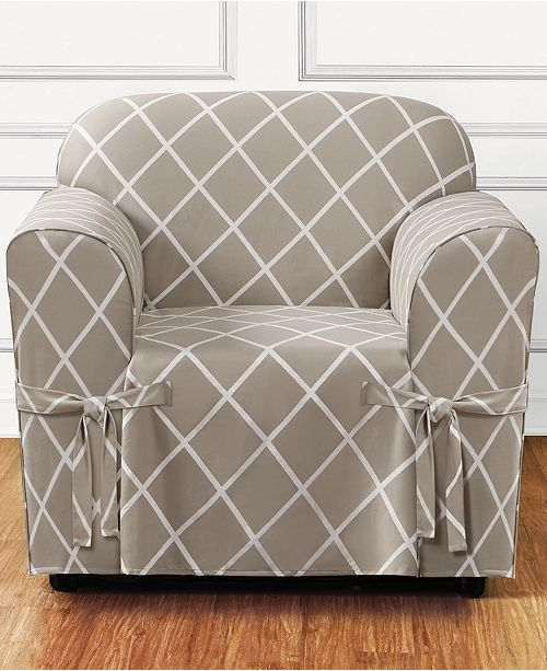 Sure Fit Lattice One-Piece Straight Skirt with Cord Chair Slipcover