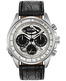 Citizen Men's Chronograph Eco-Drive Calibre 2100 Black Leather Strap Watch 44mm AV0060-00A, Limited Edition