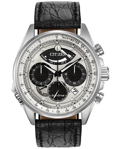 Citizen Men's Chronograph Eco-Drive Calibre 2100 Black Leather Strap Watch 44mm AV0060-00A, Limited Edition