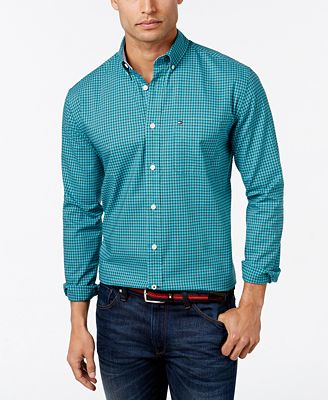Tommy Hilfiger Men's Steinbeck Button-Down Check Shirt - Casual ...