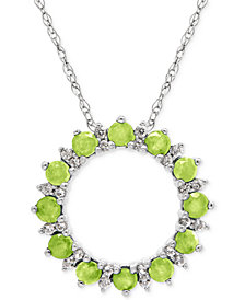 Peridot (7/8 ct. t.w.) and White Topaz (1/5 ct. t.w.) Circle Pendant Necklace in Sterling Silver