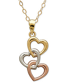 Tri-Tone Triple Heart Pendant Necklace in 10k Yellow, White and Rose Gold