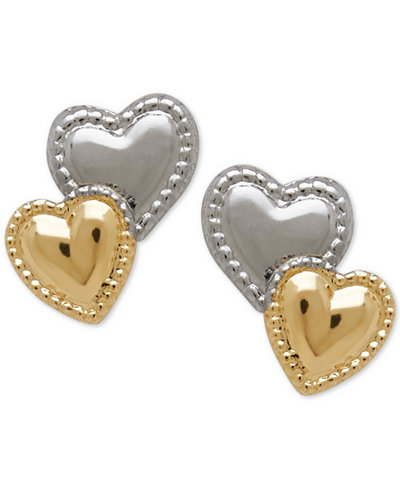 Children's Two-Tone Beaded Heart Stud Earrings in 14K Yellow Gold with Rhodium Plate