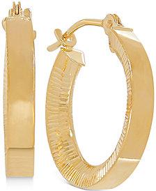 Bark Finish Hoop Earrings in 10k Gold, 2/3 inch