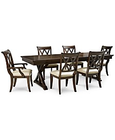 Baker Street Dining Furniture, 7-Pc. Set (Dining Trestle Table, 4 Side Chairs & 2 Arm Chairs)
