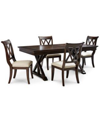 Baker Street Dining Furniture, 5 Pc. Set (Dining Trestle Table U0026 4