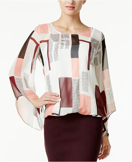 Alfani Petite Printed Angel-Sleeve Blouson Top, Created for Macy's