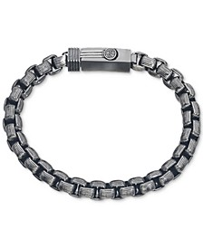 Antique-Look Rounded Box-Link Bracelet in Gunmetal IP over Stainless Steel, Created for Macy's