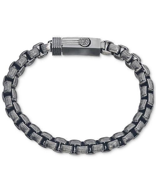 Esquire Men's Jewelry Antique-Look Rounded Box-Link Bracelet in Gunmetal IP over Stainless Steel, Created for Macy's