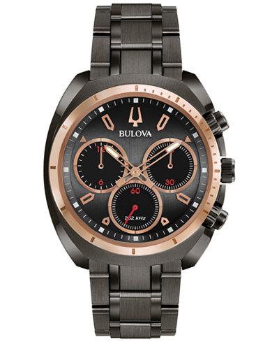 Bulova Men's Chronograph CURV Dark Gray Stainless Steel Bracelet Watch 43mm 98A158