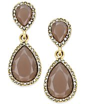 INC International Concepts Pavé Colored Stone Drop Earrings, Created for Macy's