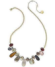 Paul & Pitü Naturally 14k Gold-Plated Genuine Stone Bib Necklace